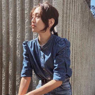 moussy - MOUSSY新作♡GATHER SLEEVE DENIMブラウス♡パフスリーブ