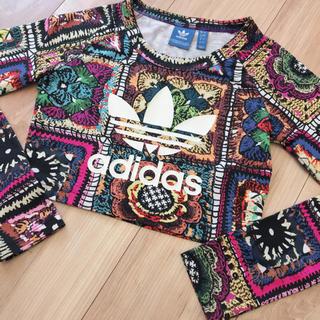 アディダス(adidas)のadidas originals♡ファームコラボ♡ショート丈ロングTシャツ♡XS(カットソー(長袖/七分))