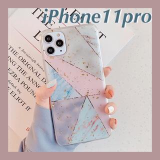 メリージェニー(merry jenny)の幾何学柄 大理石 金箔 iPhone11pro用ソフトケース(iPhoneケース)