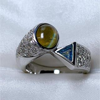 ●karati キャッツアイ ブルートパーズ ダイヤリング(リング(指輪))
