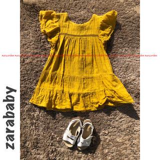 ZARA KIDS - zarababy ザラベビー レース ティアード フリル 半袖 ワンピース 98