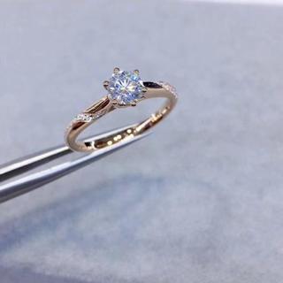 【0.5カラット】輝くモアサナイト ダイヤモンド リング k18PG(リング(指輪))