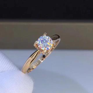 【0.5カラット】輝く モアサナイト ダイヤモンド リング K18PG(リング(指輪))