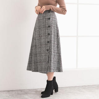 ユメテンボウ(夢展望)のフェイクウールボタンアシメラップスカート(ロングスカート)
