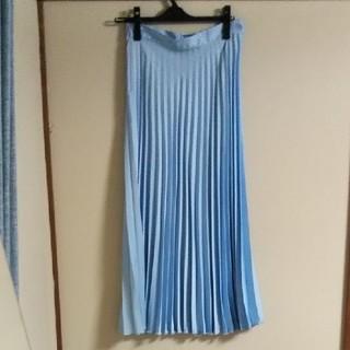 ZARA - ZARA プリーツスカート 光沢 ブルー ロングスカート XS MサイズOK
