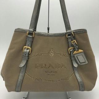 PRADA - 【美品】PRADA│プラダ ジャガード ロゴ トートバッグ キャンバス