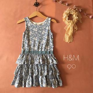 H&M - ⌖H&Mエイチアンドエム|キラキラお花柄❁︎・:*ワンピース 90