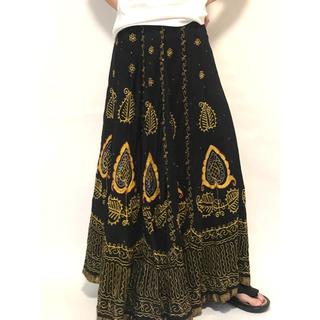 ドリスヴァンノッテン(DRIES VAN NOTEN)の専用 インド製 ハンドメイド スカート 刺繍 シルク ブラック ゴールド(ロングスカート)