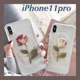 ローズ 赤 金箔 iPhone11pro ドライフラワー 薔薇 ソフトケース