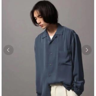 HARE - サテンオープンネックシャツ(HARE) ブルー M