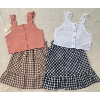 petit main - 4点セット🍭ビスチェ×ギンガムチェックスカート💓韓国子供服