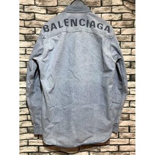 Balenciaga -  バレンシアガ★バックロゴウォッシュ加工ボタンダウンオーバーサイズデニムシャツ