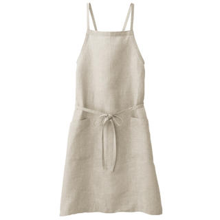 MUJI (無印良品) - 麻平織 肩クロスエプロン