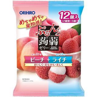 オリヒロ(ORIHIRO)の国産 ぷるんと蒟蒻ゼリーパウチ ピーチ+ライチオリヒロ (菓子/デザート)