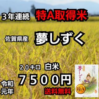 【即日発送】佐賀県産 夢しずく 白米20kg 特A米