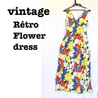 Santa Monica - 美品【 vintage 】 レトロワンピ マキシワンピ レトロ花柄ワンピース