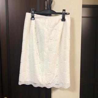 NATURAL BEAUTY BASIC - NBB 白レースタイトスカート