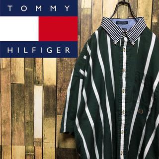 トミーヒルフィガー(TOMMY HILFIGER)の【激レア】トミーヒルフィガー☆オールド刺繍ロゴ襟切替半袖ストライプシャツ 90s(シャツ)