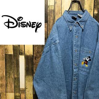ディズニー(Disney)の【レア】ディズニー☆ミッキーポケットキャラ刺繍ビッグデニムシャツ 90s(シャツ)
