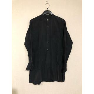 COMOLI - comoli チョークストライプ バンドカラーシャツ BLACK サイズ1