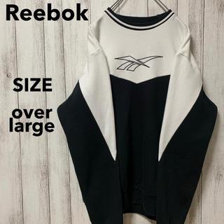 Reebok - 古着 リーボック ベクター 刺繍ロゴ 裏起毛 切り替え スウェット O メンズ