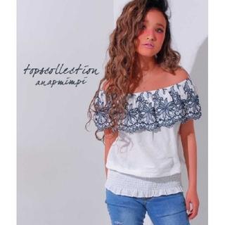 アナップミンピ(anap mimpi)のanap mimpi 刺繍 オフショル トップス F(カットソー(半袖/袖なし))