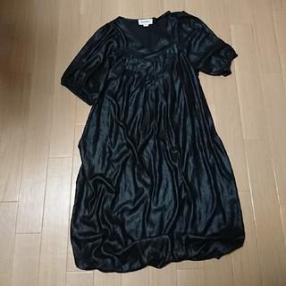 ディーゼル(DIESEL)の美品 ディーゼル 黒色 XXS 半袖 ワンピース DIESEL ブラック(ひざ丈ワンピース)