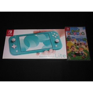 ニンテンドースイッチ(Nintendo Switch)のニンテンドースイッチライト ターコイズ&あつまれ どうぶつの森セット(携帯用ゲーム機本体)