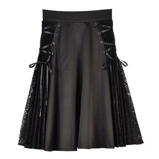 エブリン(evelyn)のAnMILLE レースプリーツ編上げSK ブラック プリーツスカート(ひざ丈スカート)