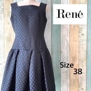René - 美品!Rene ルネ ノースリ フレア ワンピース ドレス 38 ネイビー