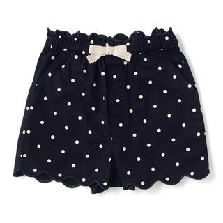 petit main - リボンつき裾スカラップショートパンツ