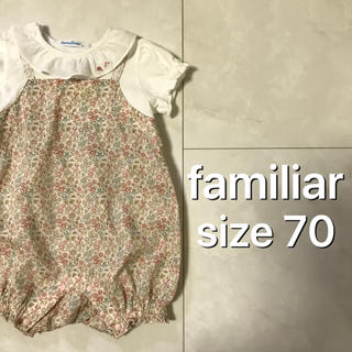familiar - familiar 花柄 ロンパース 70
