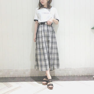 w closet - 【w closet】ガチャベルト付きチェック柄フレアロングスカート