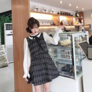 evelyn - 韓国ファッション セットアップ風ツイードワンピース