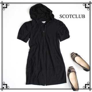 SCOT CLUB - スコットクラブ★半袖 フードパーカー 薄手 黒 ラメ感 チュニック丈 9号