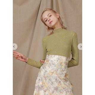 Lily Brown - 花柄リブニットトップス リリーブラウン
