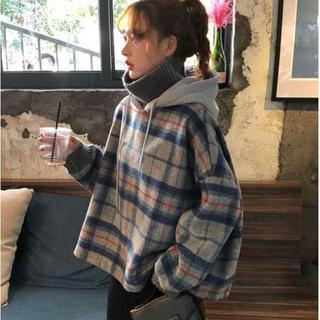 ★SALL★ハイネック 秋冬 チェック柄 ニットパーカー トップス 裏起毛(ニット/セーター)