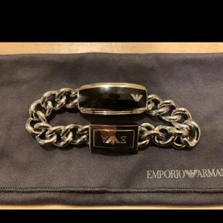 Emporio Armani - EMPORIO ARMANI  ブレスレット ブラック 黒 ステンレス