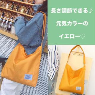 黄色 ショルダーバッグ トートバッグ 無地 シンプル サブバッグ エコバッグ 鞄(ショルダーバッグ)