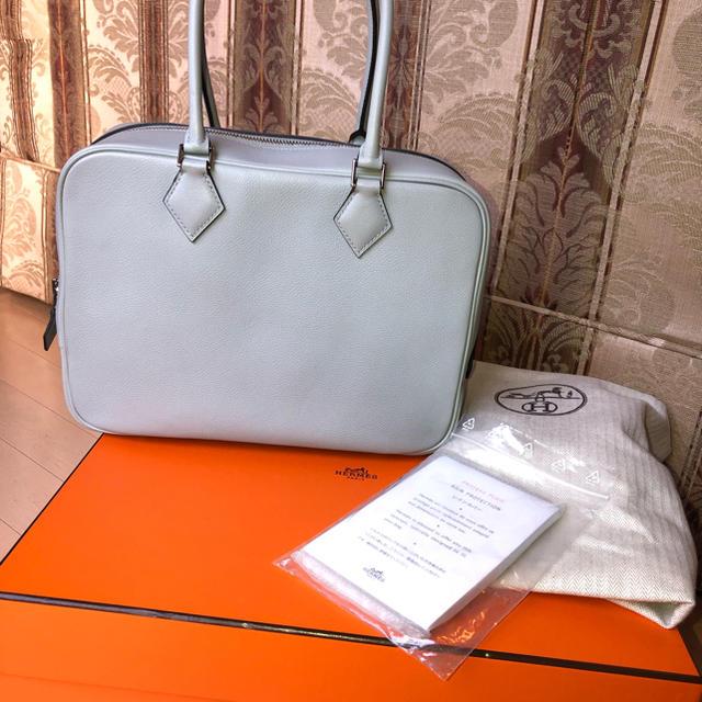 Hermes(エルメス)のお値下げ‼︎ エルメス プリュム 28  新品同様 ブルーグラシエ レディースのバッグ(ハンドバッグ)の商品写真