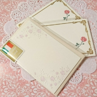🌟値下げ🌟【紙もの】薔薇のメッセージカード♡3点セット♡ (カード/レター/ラッピング)