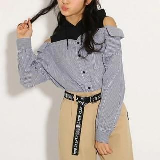 ピンクラテ(PINK-latte)の【新品】PINK-latte☆ピンクラテ ドッキングシャツブラウスパーカー165(Tシャツ/カットソー)