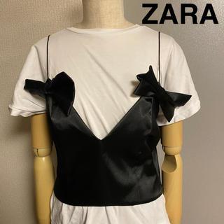 ZARA - 【ZARA】ザラ リボン キャミソール ビスチェ ブラック
