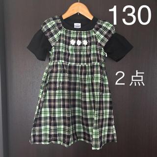 【2点】 130 ワンピース 半袖 チェック おまけ Tシャツ  黒 夏 女の子(ワンピース)