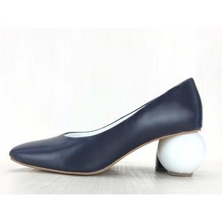 ENFOLD - enfold パンプス 靴 ネイビー チャンキーヒール エリン