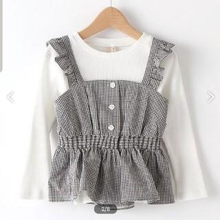 petit main - 新品 プティマインギンガムチェックビスチェリブTシャツ