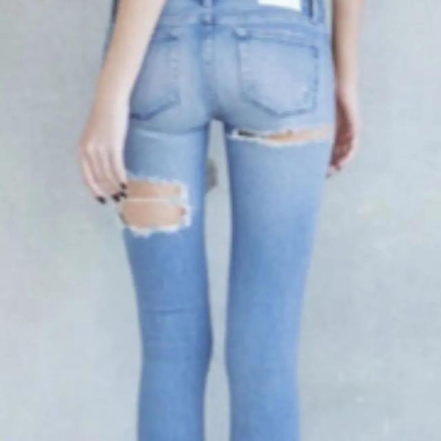 GYDA(ジェイダ)のGYDA BOTHRIPPEDスキニーデニム レディースのパンツ(デニム/ジーンズ)の商品写真