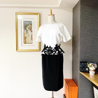 Christian Dior - 良品 ディオール ペプラム お刺繍 ワンピース ドレス レース