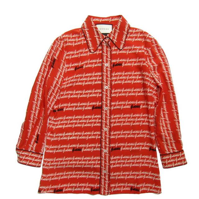 Gucci - 【GUCCI】シルクロゴシャツ レッド サイズ:40の通販