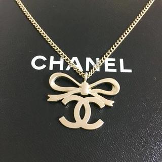 CHANEL - 正規品 シャネル ネックレス リボン ゴールド ココマーク 金 ロゴ チェーン